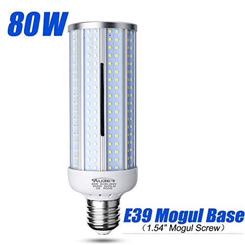 80W LED Corn Light Bulb, Large Mogul E39 Base, 8000-Lumen, 6500K Daylight Cool White, AC 85V-265V, LED Corn Bulb for Large Area Garage Factory Warehouse High Bay Barn Shopping Mall Supermarket ...