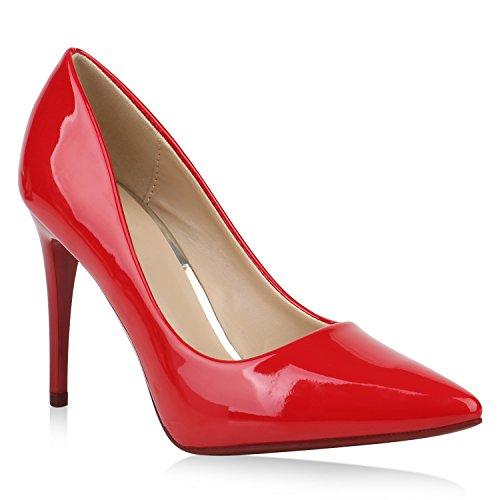 Stiefelparadies Spitze Damen Pumps Stiletto High Heels Elegante Party Schuhe Lack Flandell Rot