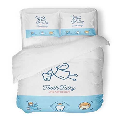 Set Colorful Pediatric Tooth Fairy Children's Dentistry Thin Line Dental Dentist Decorative Bedding Set Pillow Sham Twin Size ()