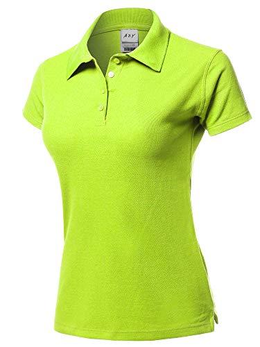 (A2Y Basic Casual 4-Button Junior-Fit PK Cotton Pique Polo Shirt Fluor Yellow L)