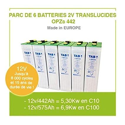Baterías para kit de panel solar 6 x 2 V translúcidas OPZS 442 para instalación autónoma solar y energía eólica batería de alta gama hasta 11.000 ciclos y 20 años de vida útil.