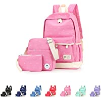 Queenie - Cotton Canvas School Backpack Casual Daypack Shoulder Bag for Kids Girls Boys
