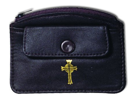 Leather Rosary Case with Double Compartments Side Snap & Top Zippered Gold Cross (Brown) by Unknown