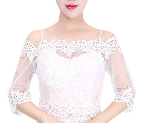 - Wishprom Off Shoulder Lace Jacket Bolero Wedding Jacket (L / (10-12))