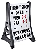 24'' x 36'' QLA Outdoor Plastic Rolling Sidewalk Curb Sign A Frame Sign with Quick-Load Changeable Message Board and Letters, White