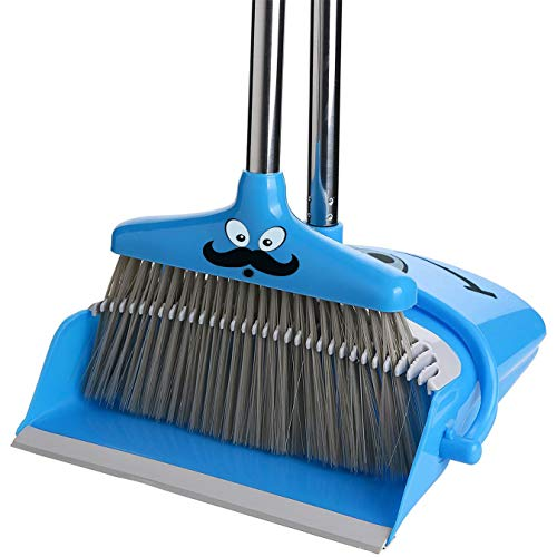 - Broom and Dustpan Set | Self Cleaning Bristles Broom and Dust Pan Combo, Dustpan and Broom with Long Handle For Kitchen Home Room Office Lobby Floor Sweep Upright Stand up