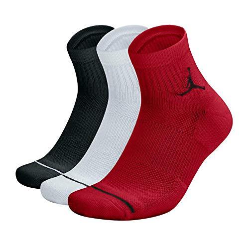 Nike Jordan Jumpman Dri-Fit Quarter Socks Multi 3 Pair SX5544-011 (Red/Black/White, Large / 8-12) (Jordan Dri Fit Socks)