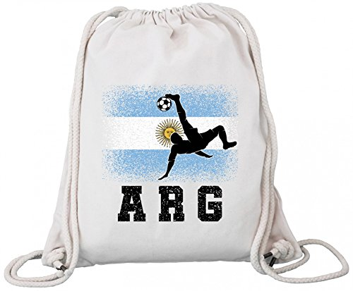 ShirtStreet Argentinien Fußball WM Fanfest Gruppen Fan Premium Bio Baumwoll Turnbeutel Rucksack Stanley Stella Argentina Football Player Natural aEvagflCF