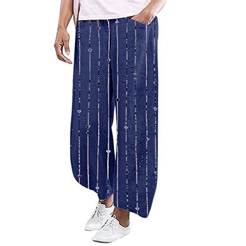 YKARITIANNA Ladies'Stripe Printing Elastic Waist Pull-On Force Pocket Comfy Casual Broad-Legged Trousers Pants Leggings ()