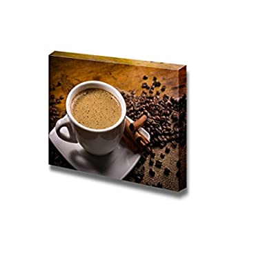 Canvas Prints Wall Art - Espressoo with Coffee Beans and Cinnamon Sticks on Wooden Table | Modern Wall Decor/Home Art Stretched Gallery Canvas Wraps Giclee Print & Ready to Hang - 24