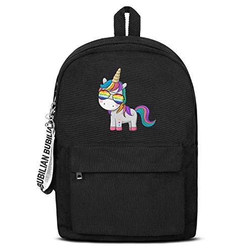 (School Black Book Bags With Pencil Case Cute Unicorn Rainbow Sunglasses.PNG Lightweight Travel Laptop Canvas Backpack)