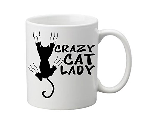[Suck My Mug - Crazy Cat Lady, White Ceramic Mug, 11 ounce] (Things That Start With The Letter B)