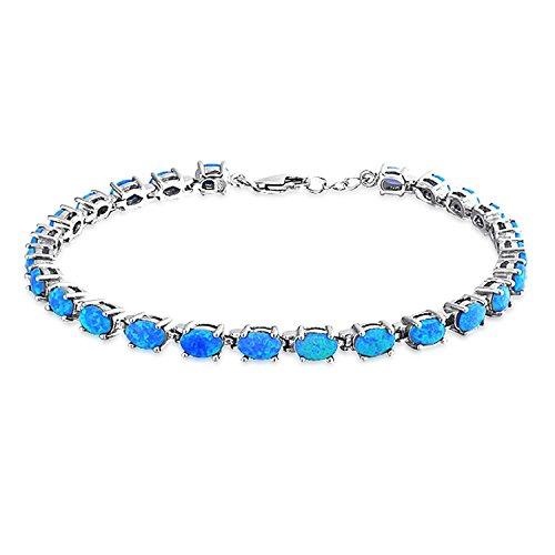 Bracelets Opal Oval (925 Sterling Synthetic Blue Opal Oval Link Tennis Bracelet 7.5in)