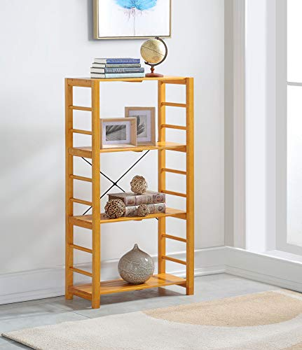 None Oak Finish Solid Wood Frame 4-tier Bookshelf Bookcase Display Shelf Kitchen with Slat Shelves eHomeProducts