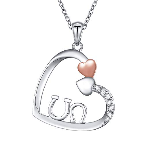 - Sterling Silver Mother Child Double Horseshoe Love Heart Necklace for Mom Mother's Day Gift, 18