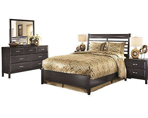 Ashley Kira 5PC Bedroom Set Queen Panel Bed Dresser Mirror Two Nightstand in Almost Black