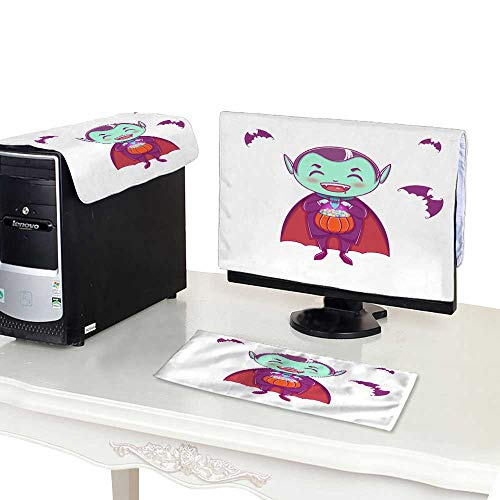 (Miki Da Suit Computer dust Cover 3 Pieces 24''MonitorSet Halloween Little Vampire Dracula Boy Kid with Smiling face in Halloween Costume with Pumpkin in his)