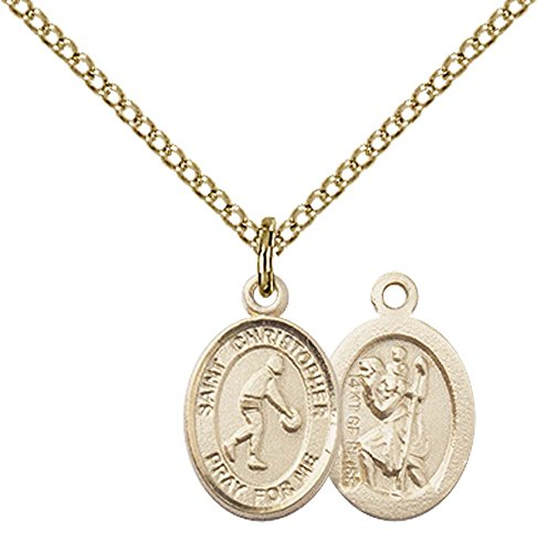 - 14kt Gold Filled St. Christopher/Basketball Pendant with 18