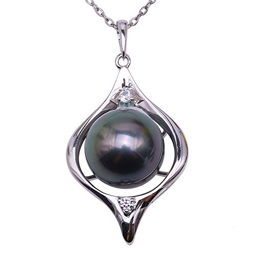 JYX Pearl 14K Gold Pendant AAA Quality 9.5mm Round Black Tahitian Pearl Pendant Necklace for Women 18