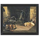 """Where Best Friends Gather by John Rossini 22""""x28"""" Print with Glass in Distressed Wood Frame"""