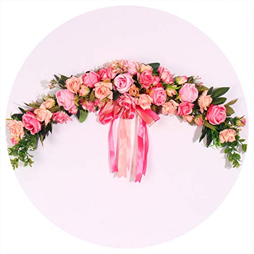 Baby hunter station Rose Artificial Flowers Garland European Lintel Wall Decorative Flower Door Wreath for Wedding Home Christmas Decoration,A Pink