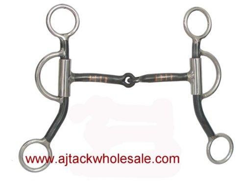 Shank Inlays Copper (AJ Tack Wholesale Short Shank Horse Reiner Training Bit Black Steel 5