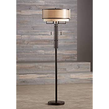 Tremont Mid Century Modern Floor Lamp Deep Bronze Tan Burlap Drum Shade For Living Room Reading