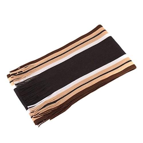 Mansy Mens Classic Cashmere Shawl Winter Warm Long Fringe Striped Tassel Scarf (Scarf Bronze)