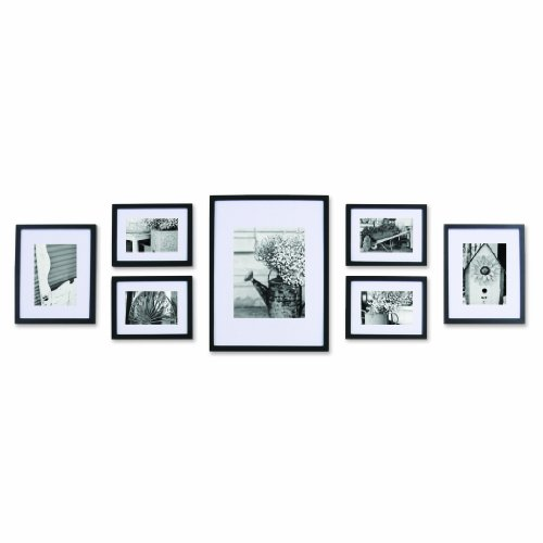 black solid wood wall frame set with usable artwork set of 7