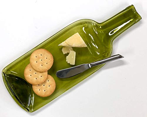 Melted Recycled Wine Bottle Cheese Tray with Cheese Spreader and Gold Ribbon, Housewarming Hostess Gift for Her or Him, Unique Serving Tray for Wine Lover
