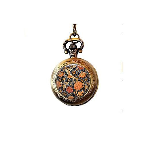 Art Nouveau Watch - Floral Design Necklace ~ William Morris Flowers - Flower Pocket Watch Necklace ~ Art Nouveau ~ Arts and Crafts ~ Kelmscott Pattern ~ Rich Colors Floral