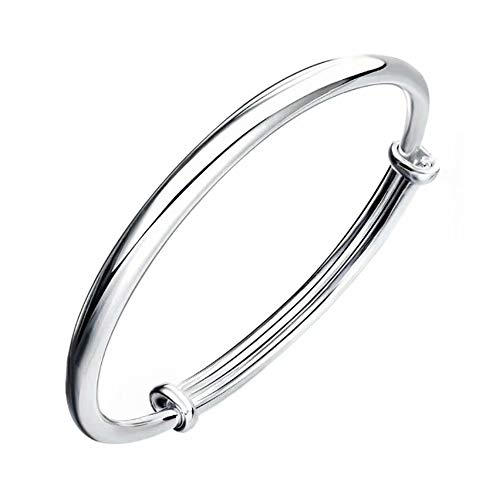 925 Sterling Silver Bracelet Cuff Bangle Bracelet Flower Bracelet Gift for Woman ()