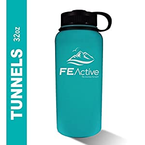 FE Active - 32oz Eco Friendly, BPA Free, Double Walled (inner/outer wall 18/8 grade 304/ss) Vacuum Insulated, Powder Coated, Stainless Steel Water Bottle Flask Canteen. Cold 24 hrs & hot 12 hrs. Teal.