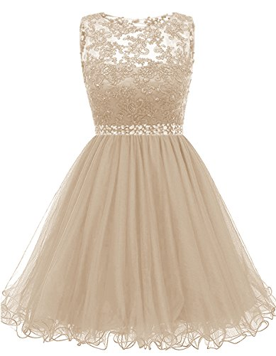 Beaded Cocktail Gown - Himoda Lace Beaded Homecoming Dresses Sequined Appliques Cocktail Prom Gowns Short H010 10 Champagne