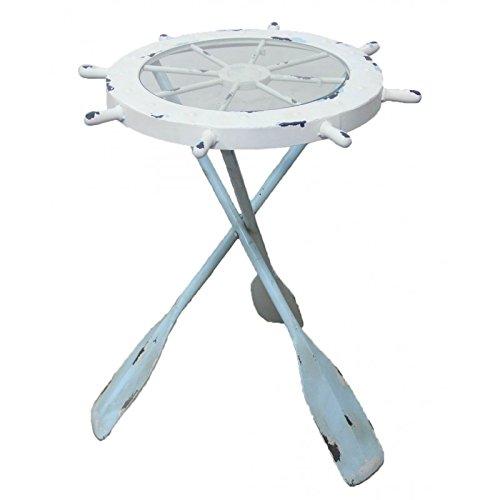 Nautical Ship Wheel Table w/ Glass