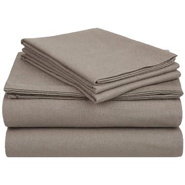 Flannel Cotton Sheet Set, Queen, Solid Grey
