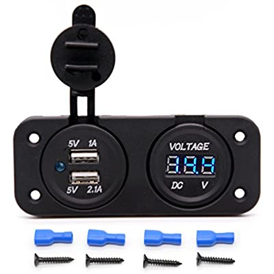 Cllena Waterproof Dual USB Charger Adapter 2.1A/1.0A + 12V-24V LED Voltmeter Panel for Motorcycle Car Boat Marine Carvan (Blue LED)