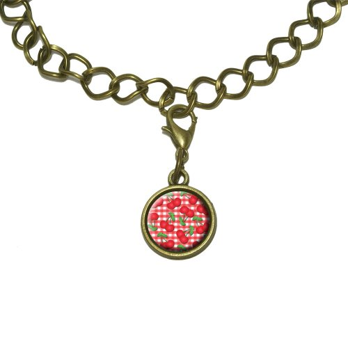 Cherries Pattern Red Checkered Charm with Chain Bracelet