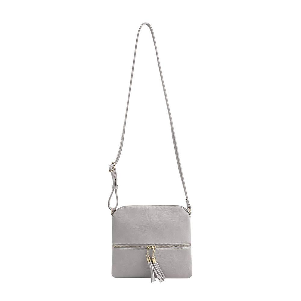 SG SUGU Lightweight Medium Crossbody Bag with Tassel and Zipper Pocket