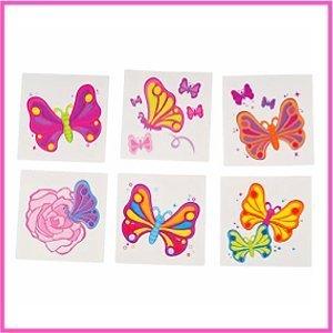 Rhode Island Novelty Butterfly Temporary Tattoos, 144-Piece