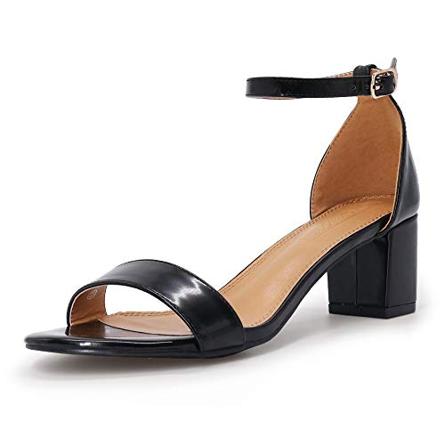 SHOWHOW Women's Block Low Heel Ankle Strap Heeled Sandals Shoes Chunky Dress Office Heels Black K 9 M US (Heels With Ankle Strap And Thick Heel)