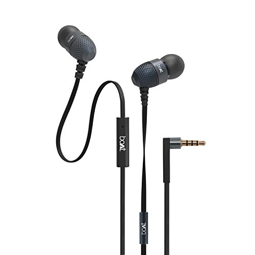 boAt BassHeads 225 Rock On 2 Special Edition In-Ear Headphones with Mic (Black)