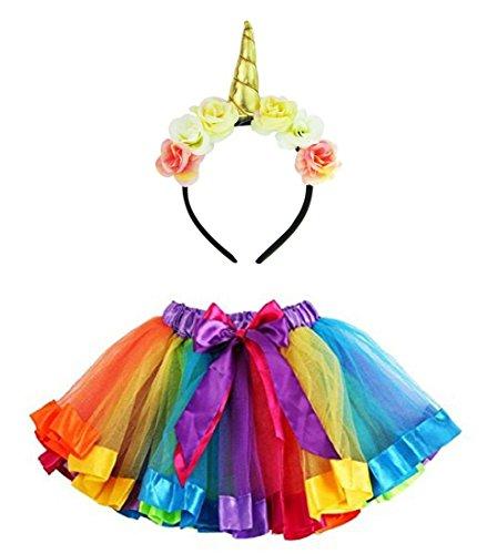 Imixcity Arco Iris de Chica Arco Falda de Tutú de Baile con Adorno de Flor de Flor de Unicornio