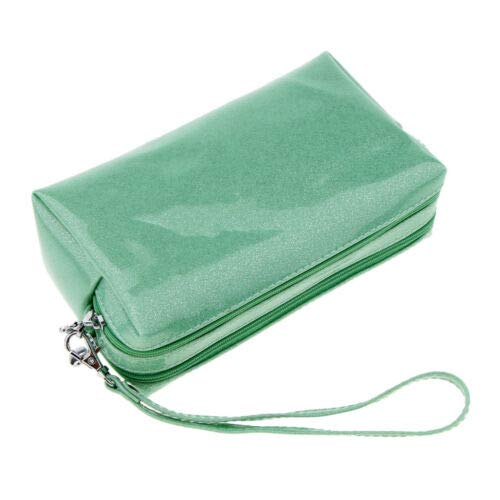 (Double Layer Travel Cosmetic Bag Makeup Toiletry Waterproof PU Pouch Case (Color - Shimmer Green))