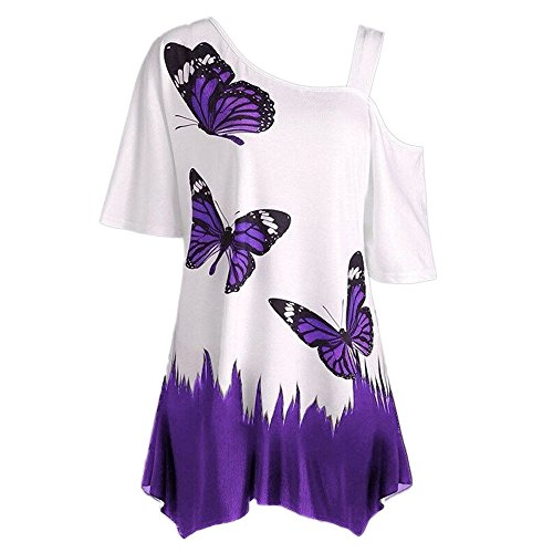 TUSANG Women Tees Large Size Butterfly Printing T-Shirt Short Sleeve Tops Blouse Slim Fit Comfy Off Shouder Tunic(Purple,US-4/CN-S)