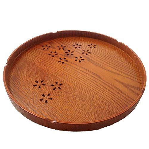 Wooden Sake - Liebsup Japanese Style Wooden Tea Tray with Sakura Pattern for Teapot Japanese Sake Cups Serving Display Stand (10.6in, brown)