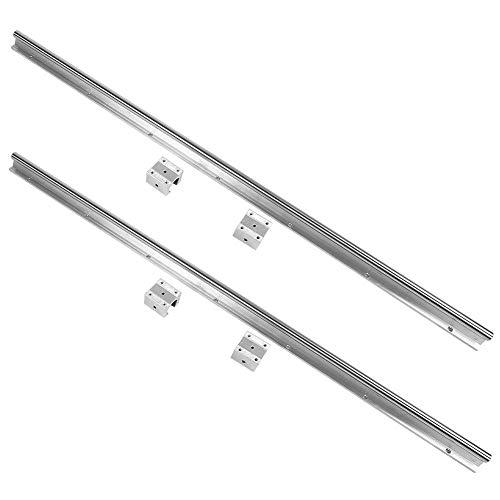 Linearführungsschiene, 2 Stk. SBR16-1000mm Stahl-Lineargleitschienenwelle mit 4 Stk. SBR16UU-Gleitblock für 3D-Drucker und CNC-Teile