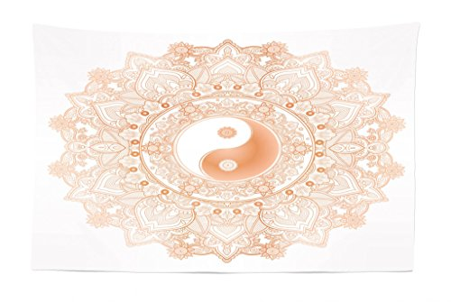 Lunarable Ying Yang Tapestry, Circle Yin Yang Mandala Symbol Unity and Peace in Opposites Retro Ethnic Boho, Fabric Wall Hanging Decor for Bedroom Living Room Dorm, 45 W X 30 L inches, Orange White