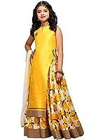 Spangel Fashion Girl's Special Anarkali Lehenga Choli (Yellow_Semi-stitched_8-12 years)