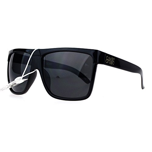 Plastic Logo Sunglasses - SA106 Oversize Flat Top OG Gangster Plastic All Black Sunglasses Gold Logo